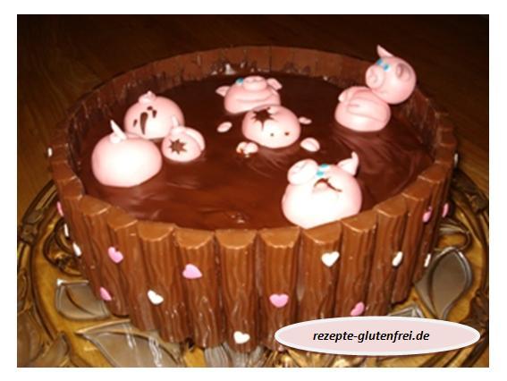 Schweinchen im Matschkübel-Torte
